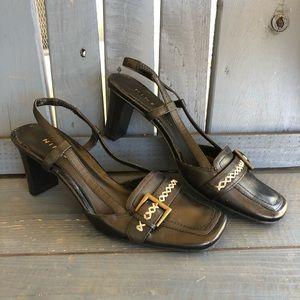 Vintage 90's Black Kitten Heel Slides Size 6